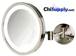 LED Hardwire Makeup Mirror in Nickel Finish